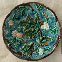 ANTIQUE MAJOLICA EARTHERN WARE Plate Floral - Gorgeous!!!