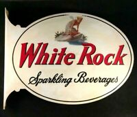 Vntg WHITE ROCK SPARKLING BEVERAGES FLANGE SIGN Rare Old Advertising Metal 1950s