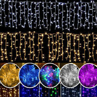 US LED Christmas Fairy Icicle Snow Curtain Lights Lamp Xmas Party Indoor Outdoor
