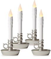 Set Of 4 Battery Operated LED Candle Lamps, With Pewter Base,& Auto Timer, 9.5""
