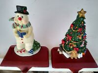 Set of 2 Christmas Stocking Holders 1 Snowman 1 Christmas Tree 5