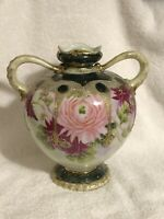 ANTIQUE HAND PAINTED NIPPON JAPAN FLORAL GOLD MORIAGE VASE Pink Red Urn Textured
