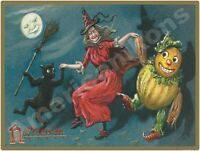 Vintage Look Halloween Decoration New Metal Sign: Dancing Witch w/ Black Cat +