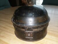 c.1830's ANTIQUE TOLEWARE SPICE TIN BOX CADDY w/ NUTMEG GRINDER PRIMITIVE EARLY