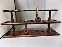 MITCHELL THOMAS CLASSIC CHERRY FINISH 18 PIPE HOLDER STAND RACK NEW OLD STOCK