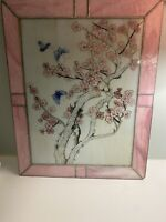 Stained Glass Window Panel Leaded Pink Cherry Blossoms