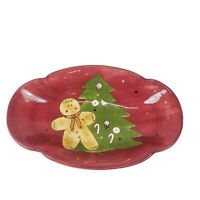 Laurie Gates Christmas Gingerbread Treat Oval Vegetable Bowl Platter 13 3/4