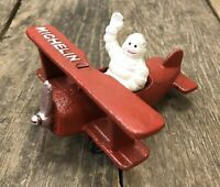 Michelin Man Bibendum Vintage Cast Iron Red Model Biplane Airplane Figurine