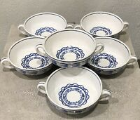 Old Bristol Pottery Blue & White Two Handled Bowls