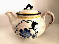 Stangl Teapot Terra Rose Garden Flower Blue Green Yellow Tea Pot 6.5 inches