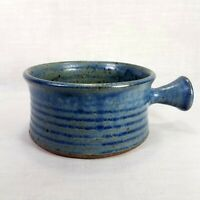 Vintage Peter Leach Studio Pottery Bowl with Handle Earthy Blue Brown Flecked