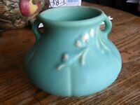 Weller Pottery Floral Squat Turquoise Green Vase F2