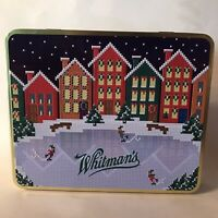 empty WHITMAN'S CHOCOLATES SAMPLER metal tin box w/HINGED LID Christmas Village