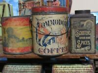 3  Late 1800s Schottens Spice, Commodore Spanish American War Coffee Syrup Cans