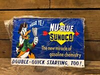 Sunoco Gas Pump Sign Donald Duck Station Service Oil Can Shell Vintage Antique