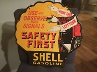Old Shell Gasoline Safety Double Sided Porcelain Sign 18""