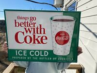 """🍊Vintage Coca-Cola """"Things Go Better With Coke"""" Tin Metal Sign, 20"""" x 28"""