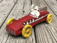 Michelin Man Bibendum Vintage Cast Iron Red Race Car