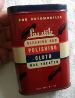 Vintage Las Stik Automobile Old Cars Cleaning amp; Polishing Cloth Tin Nice