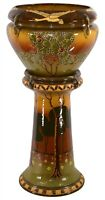 Roseville Pottery Decorated Landscape Jardiniere And Pedestal 456-12 (Rhead)