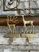 S2 Pottery Barn MERRY REINDEER BRASS STOCKING HOLDERS SMALL LARGE Deer Christmas