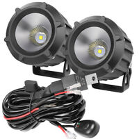 2x 4quot; Cree Round LED Driving Spot Lights Pods Flood Off Road ATV 12V Wiring Kit