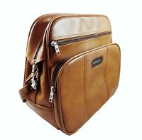 Samsonite Travel Bag Luggage Purse Tan Adjustable Shoulder Strap Textured Vinyl