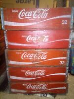 Vintage Coca-Cola Wooden Red Soda Pop Crate Carrier Box Case Wood Coke