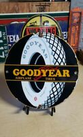 GOODYEAR TIRES porcelain sign vintage TYRES rubber co auto airplane bicycle