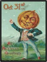 Vintage Look Halloween Decoration New Metal Sign: Pumpkin Head Greetings!