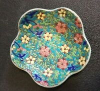 Vintage LongWy Kenilworth Studio Enamel scalloped bowl France