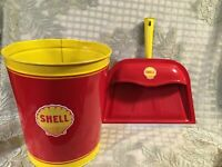 SHELL Gas Oil Co Gasoline Station Trash Waste Can + Dust Pan Restored Sign Decal