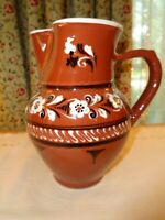 VINTAGE HANDCRAFTED LARGE CERAMIC POTTERY PITCHER-CLAY COLOR-HIGH GLOSS GLAZE