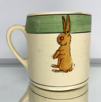 Antique Roseville Pottery Green-Band Rim Double Rabbit Juvenile's Creamware Mug