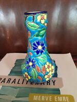 Emaux de LONGWY Ceramic ENAMEL Bud VASE Decore A La Main Made In France Vintage