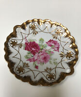 Carl Tielsch (CT) Germany Pink Roses Gold Trim Handled Plate 10