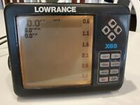 Lowrance X-65 fish finder w/transducer, speed/water temp paddle, cables