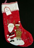 🎅 NWT Pottery Barn Kids SANTA & REINDEER Quilted Christmas Stocking No Mono 🎄