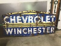Neon Winchester Chevrolet Porcelain Sign, Gas And Oil, Chevrolet And Ford