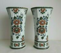 ROYAL DELFT POLYCHROME - XL Trumpet Vase 11.8 Inches - HAND PAINTED