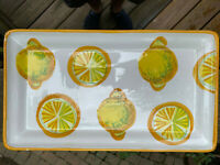 Vietri Pottery- 14x8 inch Tray With Lemon.Made/Painted by hand in Italy