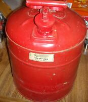 Vintage Red Safety metal 5 gallon gas can great shape with filter