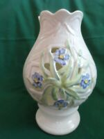 Belleek Irish Pottery Hurricane Votive Candle Holder Violets 8quot; Green Mark