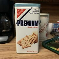 Vintage 1978 Nabisco Premium Saltine Crackers Tin 15 oz Can with Lid