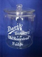 Vintage 1930s / 40s Davis Fudge Peanut 1 Cent Jar, Tom's Store, Lance. Gordon's