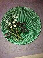 Vintage Green MAJOLICA GERMANY LILY OF THE VALLEY 6.5