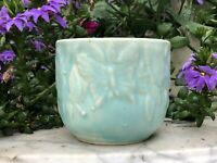 """Vintage Nelson McCoy Aqua Turquoise Green 3"""" Butterfly Planter"""