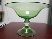 Vintage Pairpoint Compote - Blown Glass with Bubble Ball Connector  7