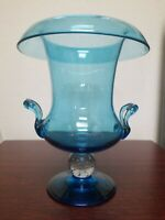 Vintage Pairpoint Bubble Ball Stem Blue Rolled Edge Urn With Handle 10