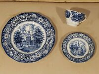 Liberty Blue Stafordshire Ironstone Dishes Historic Colonial Scenes Set of 3